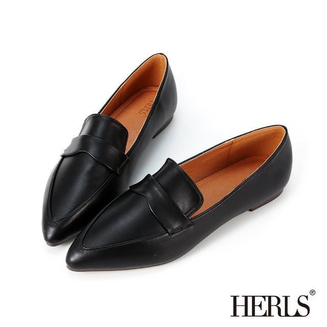 【HERLS】樂福鞋-簡約橫帶造型尖頭平底樂福鞋(黑色)