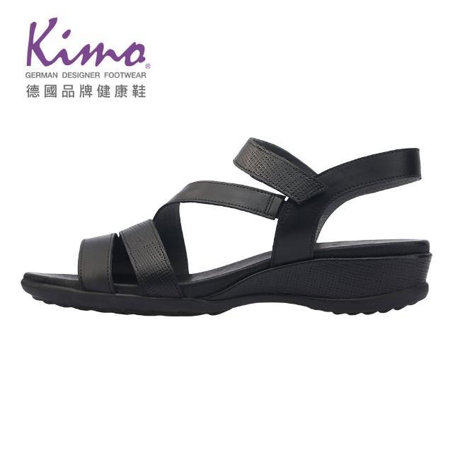 【Kimo】牛皮簡約繫帶涼鞋 女鞋(黑 D65BASF001013)