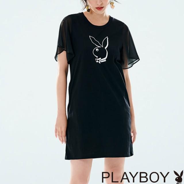 【PLAYBOY】大框兔雪紡波浪袖洋裝(黑色)