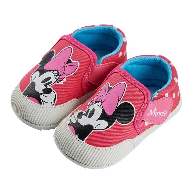 【Disney 迪士尼】迪士尼童鞋 米妮 大臉魔鬼氈造型寶寶鞋-桃(MIT台灣在地工廠製造)