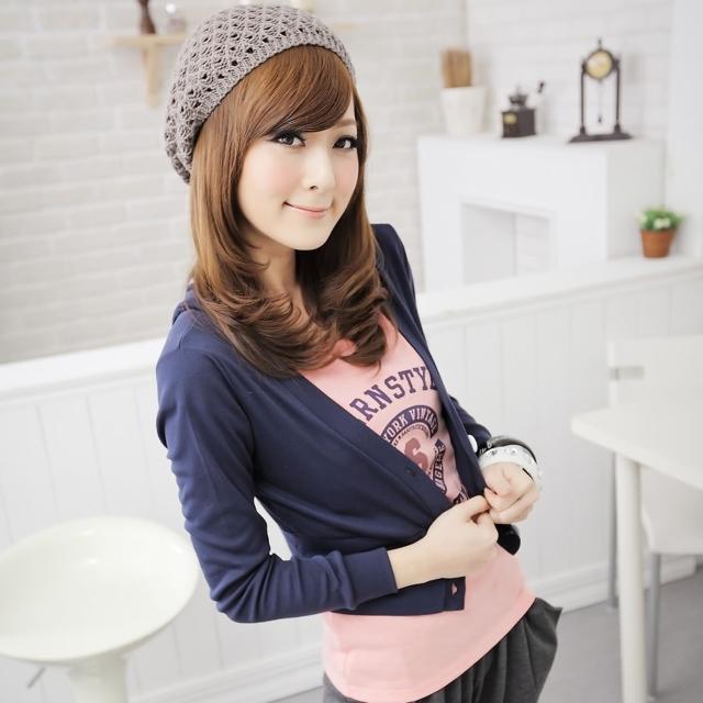 【衣心衣意中大尺碼】氣質甜美   羅紋短版外套帽T(藍-紅SA4A1205)