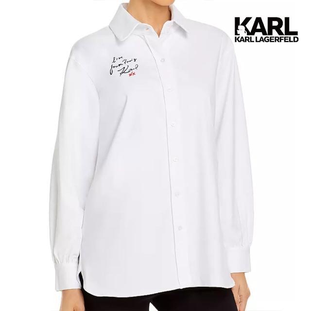【KARL LAGERFELD 卡爾】Love from Paris襯衫-白(原廠公司貨)