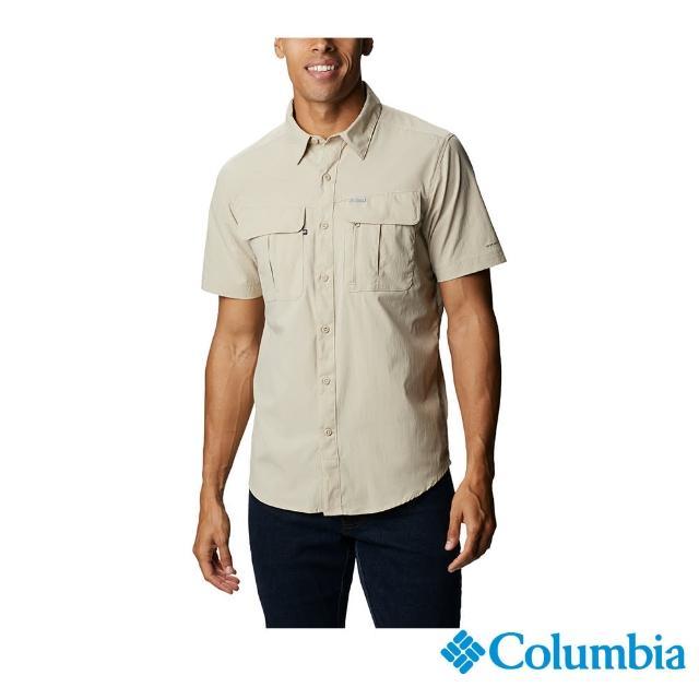 【Columbia 哥倫比亞】男款-UPF30快排短袖襯衫-棕褐(UAE07630TN / 快排.防曬.休閒)