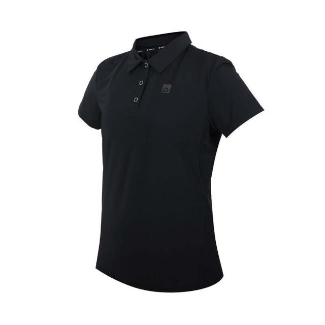 【FIRESTAR】女彈性機能短袖POLO衫-運動 慢跑 上衣 涼感 高爾夫 炫彩反光 黑銀(DL168-10)