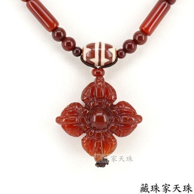 【藏珠家】平安吉祥 紅玉髓十字金剛杵天珠項鍊-1