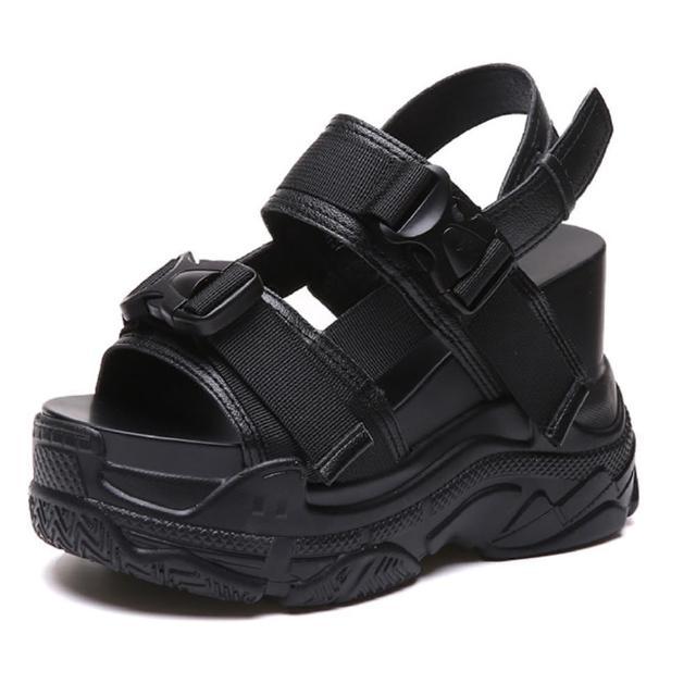 【Taroko】青春態度鏤空透氣超高厚底運動休閒涼鞋(2色可選)