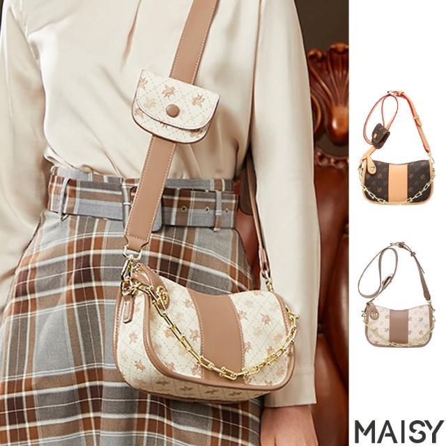 【MAISY】時尚潮流撞色復古花紋單肩斜背腋下包(現+預 棕色 / 白色)