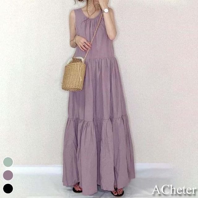 【ACheter】日本小清新背蝴蝶系帶棉麻蛋糕背心洋裝#109434現貨+預購(3色)