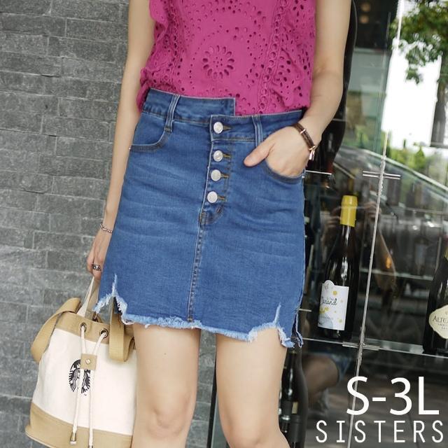 【SISTERS】個性抓破刷色牛仔褲裙 短裙/S-3L(牛仔裙/褲裙/短裙)
