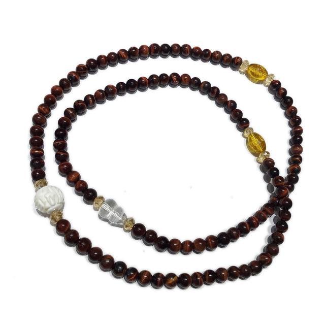 【十方佛教文物】水晶葫蘆+紅虎眼108念珠6mm
