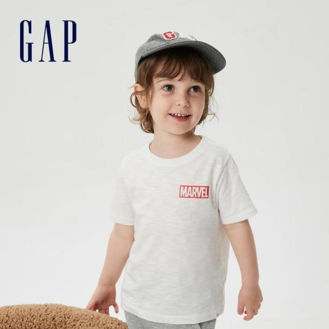 GAP【GAP】男幼童 Gap x Marvel 漫威系列純棉短袖T恤(687878-白色)