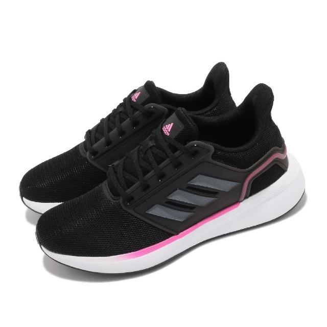【adidas 愛迪達】慢跑鞋 EQ19 Run 運動 女鞋 愛迪達 輕量 透氣 舒適 避震 路跑 黑 粉(H00933)