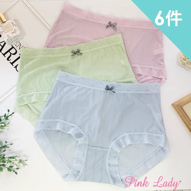 【PINK LADY】冰絲觸感蕾絲無痕內褲 閃耀花邊 中高腰內褲(6件組)