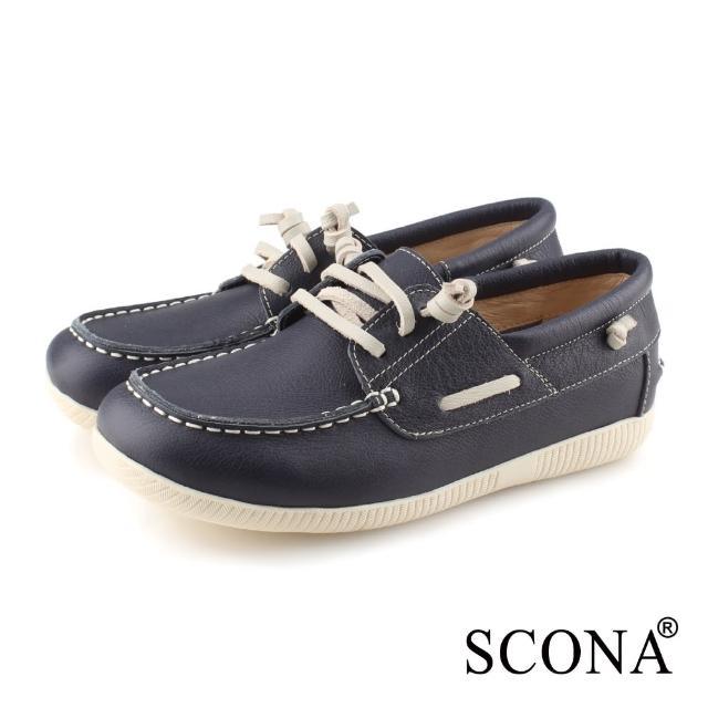 【SCONA 蘇格南】SCONA 蘇格南 全真皮 舒適休閒帆船鞋(藍色 7356-1)