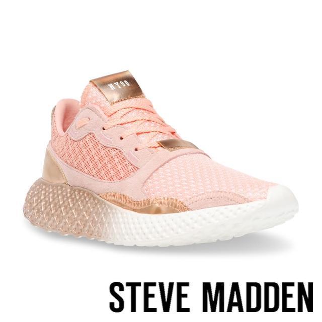 【STEVE MADDEN】RAMP 拚色透氣增高運動休閒女鞋(粉色)