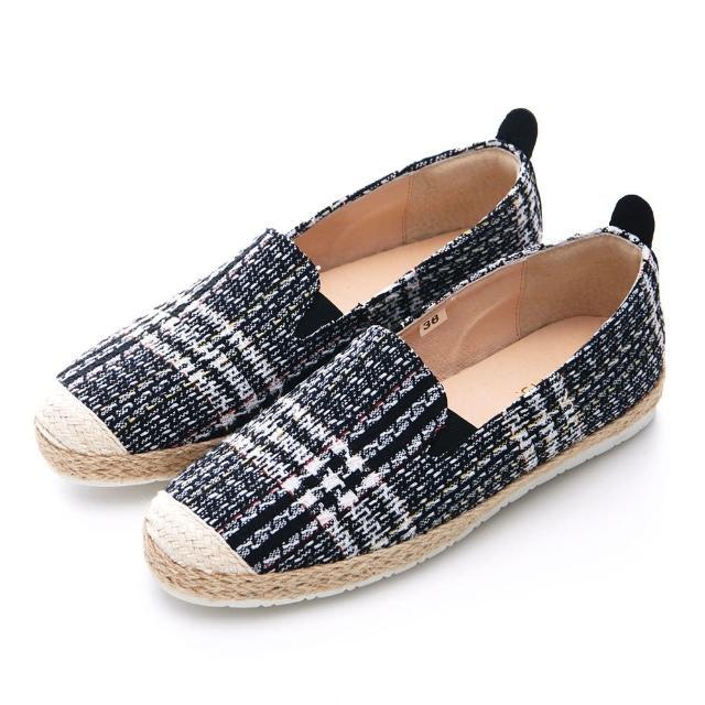 【G.Ms.】MIT系列-小香毛呢麻繩平底休閒懶人鞋(黑色/白色)