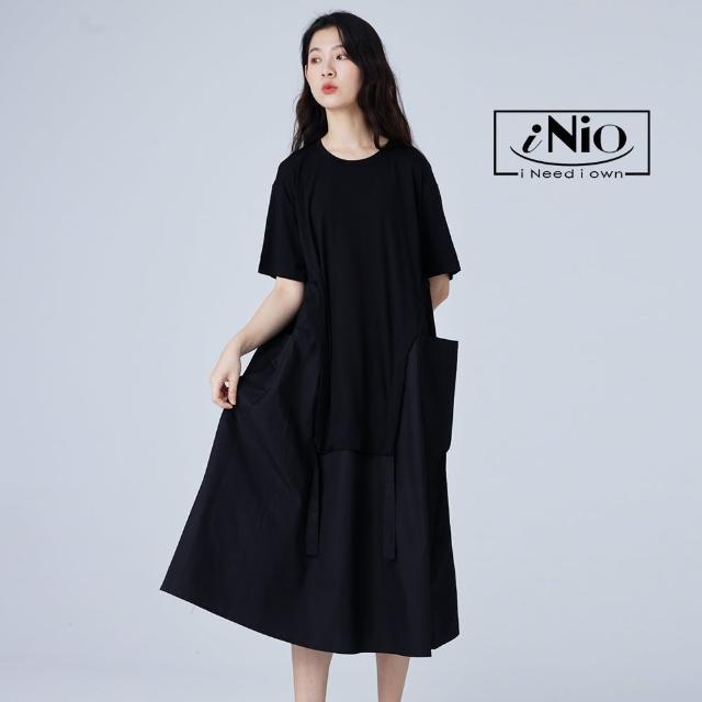 【iNio 衣著美學】超大口袋設計拼接風黑色圓領短袖長洋(S-L適穿)-現貨快出C1W3036