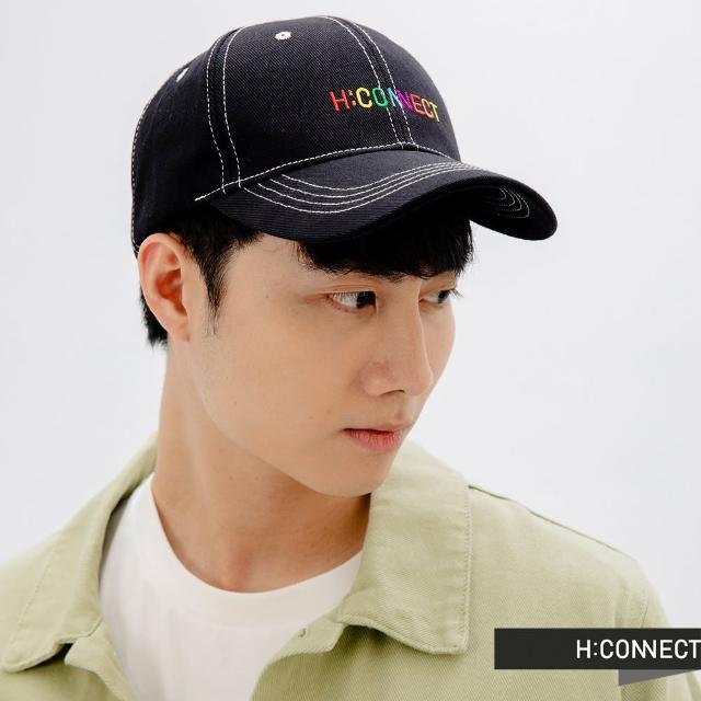 【H:CONNECT】韓國品牌 配飾-彩虹logo字樣棒球帽(黑色)