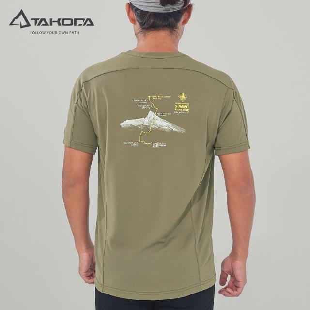 【TAKODA】環保機能短袖印花系列-馬來西亞神山 男女款 橄欖綠(吸濕排汗/舒適涼感/抗菌吸臭)