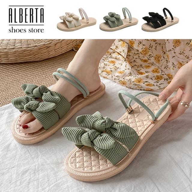 【Alberta】2cm涼鞋 優雅氣質寬帶蝴蝶結 布面平底圓頭兩穿涼拖鞋