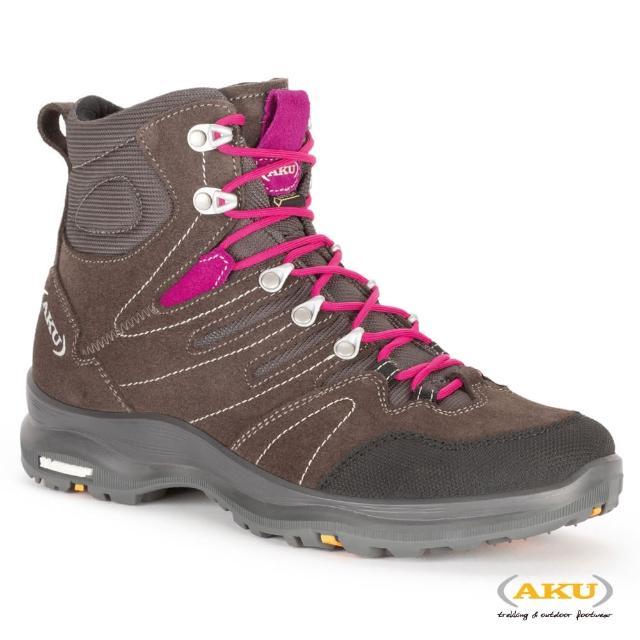【AKU】女 中筒 多功能米其林健行鞋 棕/洋紅 MONTERA LITE GTX(AK748-299/登山鞋/健行鞋)