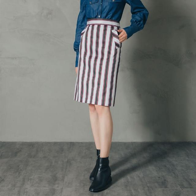 【Who Cares】立式口袋鉛筆裙(紅白條紋)