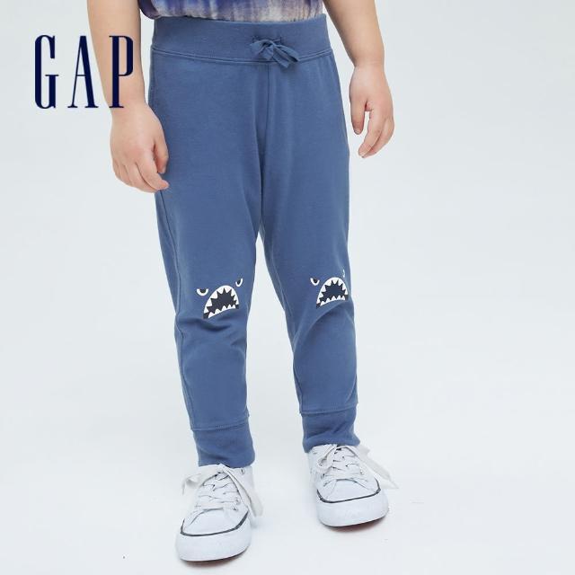 GAP【GAP】男幼童 動物印花純棉法式圈織軟休閒褲(700529-藍色)