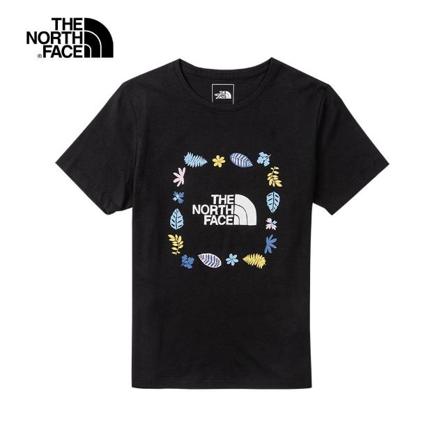 【The North Face】The North Face北面女款黑色繽紛花草印花圓領短袖T恤|4UBPJK3
