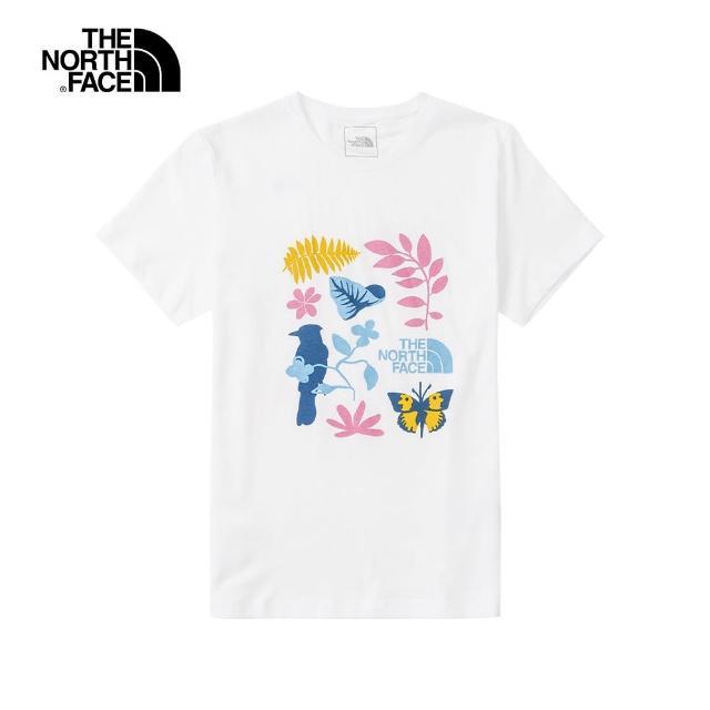 【The North Face】The North Face北面女款白色自然元素印花圓領短袖T恤|4UBPFN4