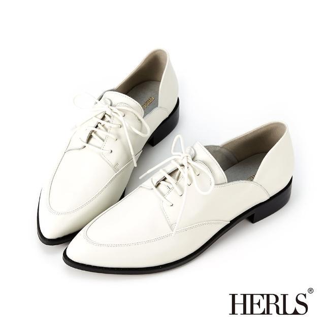 【HERLS】牛津鞋-時髦全真皮側V尖頭德比鞋牛津鞋(灰白色)
