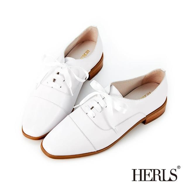 【HERLS】牛津鞋-全真皮緞帶方頭低跟牛津鞋(白色)