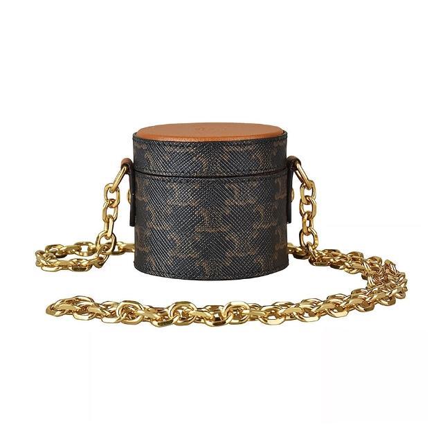 【CELINE】CELINE經典金字壓印LOGO羊皮搭配印花帆布磁扣式鍊帶珠寶盒(棕)