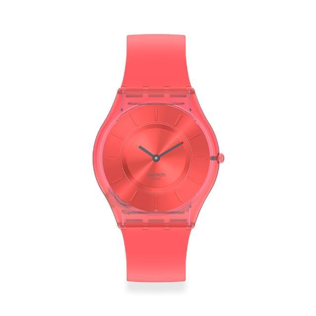 【SWATCH】SKIN超薄系列手錶SWEET CORAL珊瑚橘(34mm)