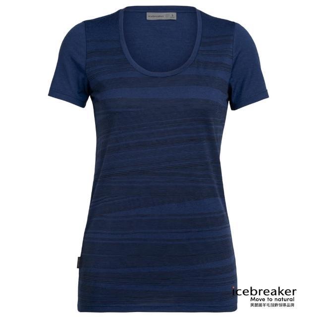 【Icebreaker】女 Tech Lite U領短袖上衣-AD150-一線之路-深藍(IB105001-427/快乾/排汗/登山健行)