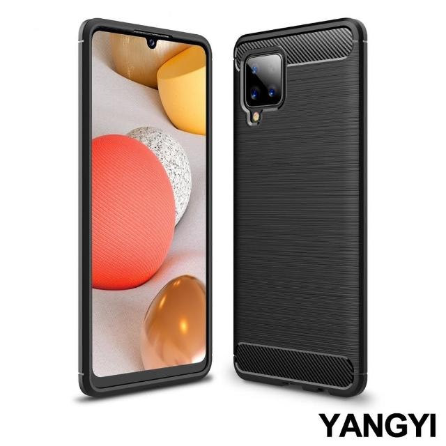 【YANG YI 揚邑】SAMSUNG Galaxy A42 5G 碳纖維拉絲紋軟殼散熱防震抗摔手機殼