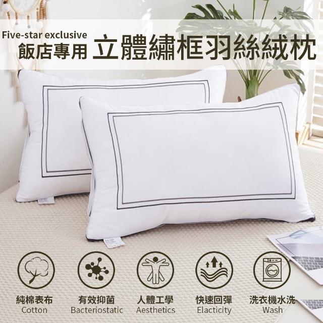 【Annette】可水洗純棉扭花羽絲絨枕頭(1入)
