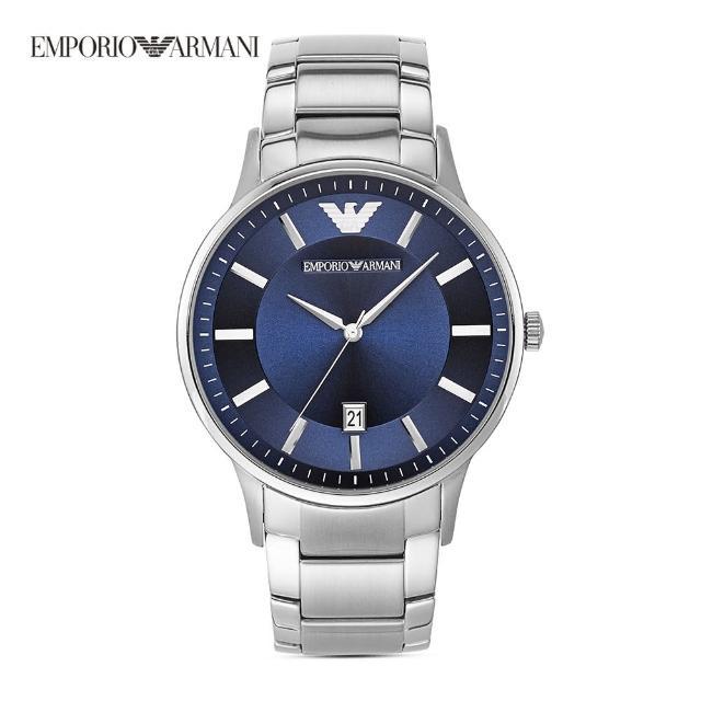 【EMPORIO ARMANI】Renato 時尚典範紳士日期手錶 銀色不鏽鋼鍊帶 43MM AR11180