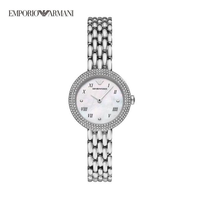 【EMPORIO ARMANI】Rosa 鑲鑽羅馬數字刻度女錶 銀色不鏽鋼鍊帶 30MM AR11354