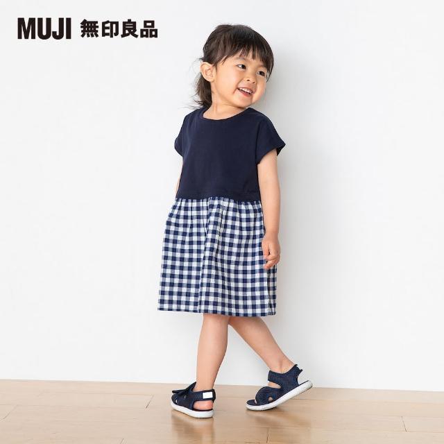 【MUJI 無印良品】幼兒有機棉泡泡紗拼接洋裝(共2色)