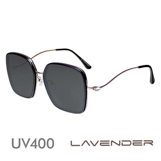 【Lavender】金屬鑲邊水鑽曲腳-經典黑H7144-C1(偏光太陽眼鏡)