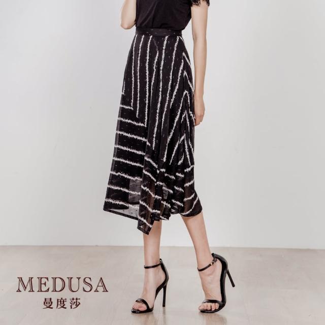 【MEDUSA 曼度莎】大拼接條紋小開衩飄逸中長裙(M-2L)(601-7170C)