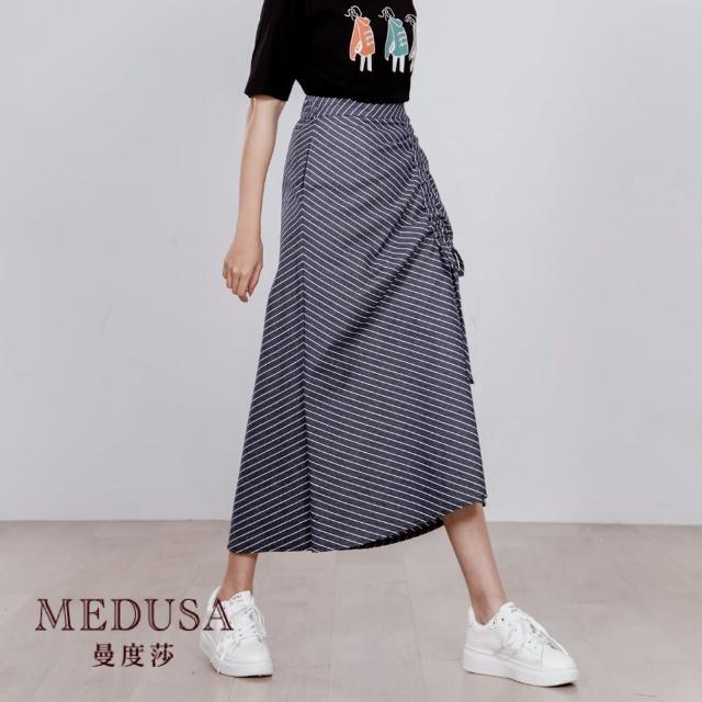 【MEDUSA 曼度莎】單側抽繩牛仔斜紋中長裙(M-XL)(601-80004)