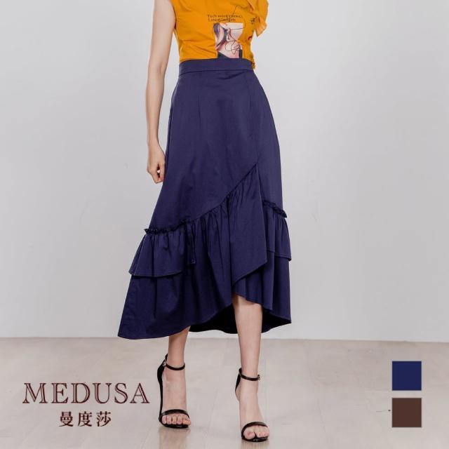【MEDUSA 曼度莎】荷葉不規則下襬純棉中長裙(M-XL)(605-80604)