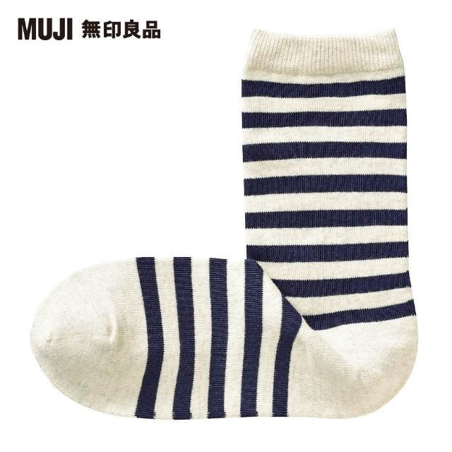 【MUJI 無印良品】女棉混足口寬鬆舒適橫紋直角襪(粉米橫紋23~25cm)
