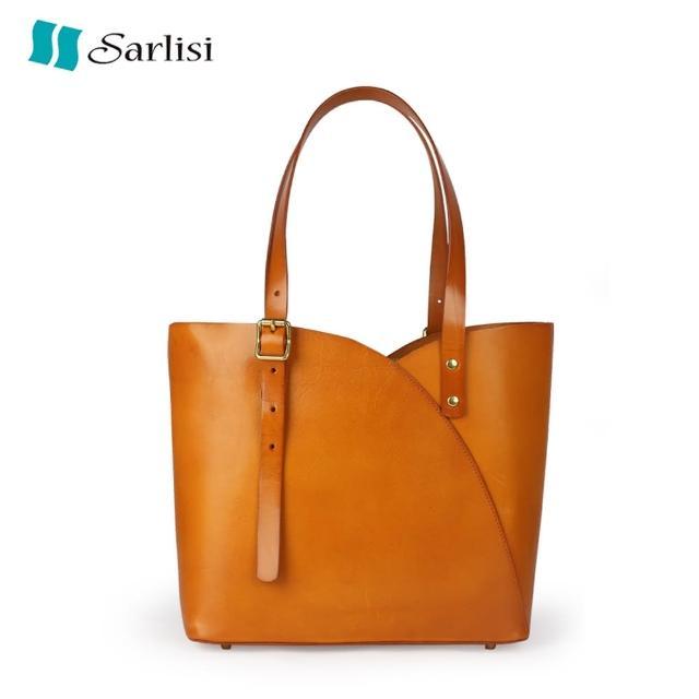 【Sarlisi】植鞣皮包包水桶包女大容量復古高級小眾進口牛皮子母單肩包