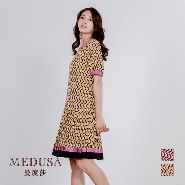 【MEDUSA 曼度莎】幾何花紋織帶百褶裙洋裝(M-XL)(601-30806)