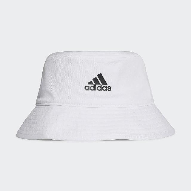 【adidas 愛迪達】漁夫帽 白 印花 休閒 COTTON BUCKET(H36811)