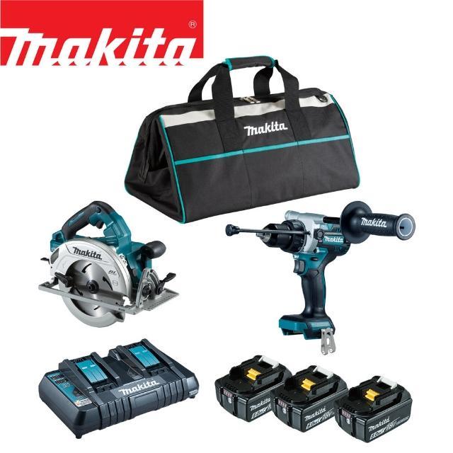 【MAKITA 牧田】18V鋰電無刷雙機組-震動起子電鑽+圓鋸機(DLX2442GX1)