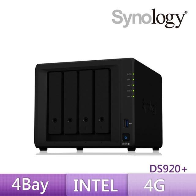 【搭美光 1TB SSD SATA 固態硬碟】Synology 群暉科技 DS920+ 4Bay 網路儲存伺服器