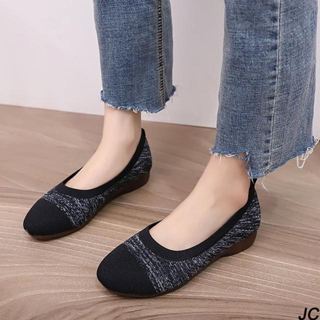 【JC Collection】輕盈透氣飛織+棉質舒適後跟懶人鞋休閒鞋(黑色、淺棕色)